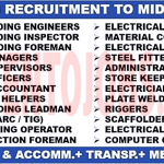 Latest Job Vacancies in Middle East Oil and Gas Projects 2018 | Any Graduate/ Any Degree / Diploma / ITI |Btech | MBA | +2 | Post Graduates | Apply Online