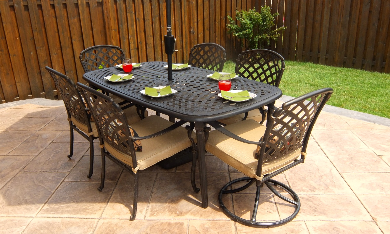 hampton bay patio chairs lazy boy chair with fridge and speakers 50 off 7 pce millstone cast aluminum