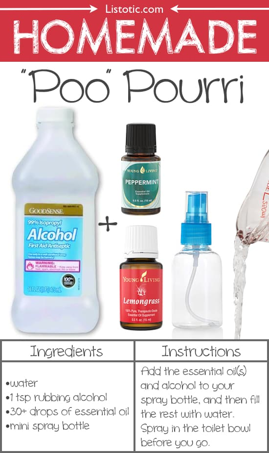 #12. Homemade Poo Pourri -- Spray it in the toilet BEFORE you go! This stuff is AMAZING! 22 Everyday Products You Can Easily Make From Home (for less!) These are all so much healthier, too!