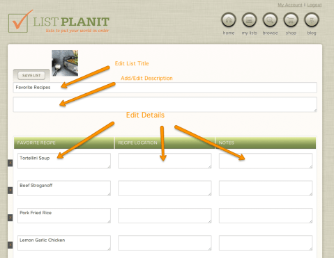 Creating a list at the new ListPlanIt.com