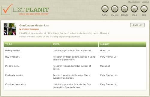 Graduation Master List | ListPlanIt.com