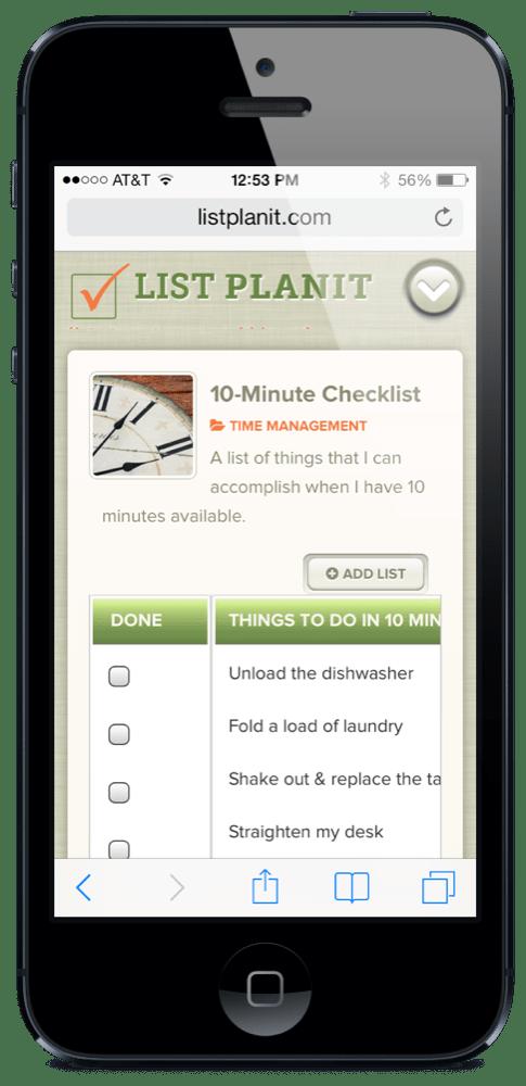 List Spotlight: 10-Minute Checklist | ListPlanIt.com