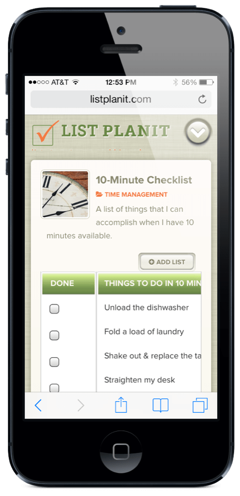 List Spotlight: 10-Minute Checklist | ListPlanIt.com
