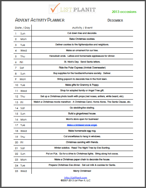 2013 Tankersley Family Advent Activity Calendar   ListPlanIt.com
