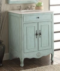 26 inch Adelina Cottage Light Blue Bathroom Vanity Crystal ...