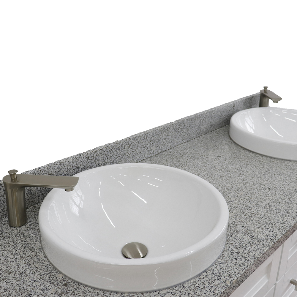 61 double sink vanity in white finish