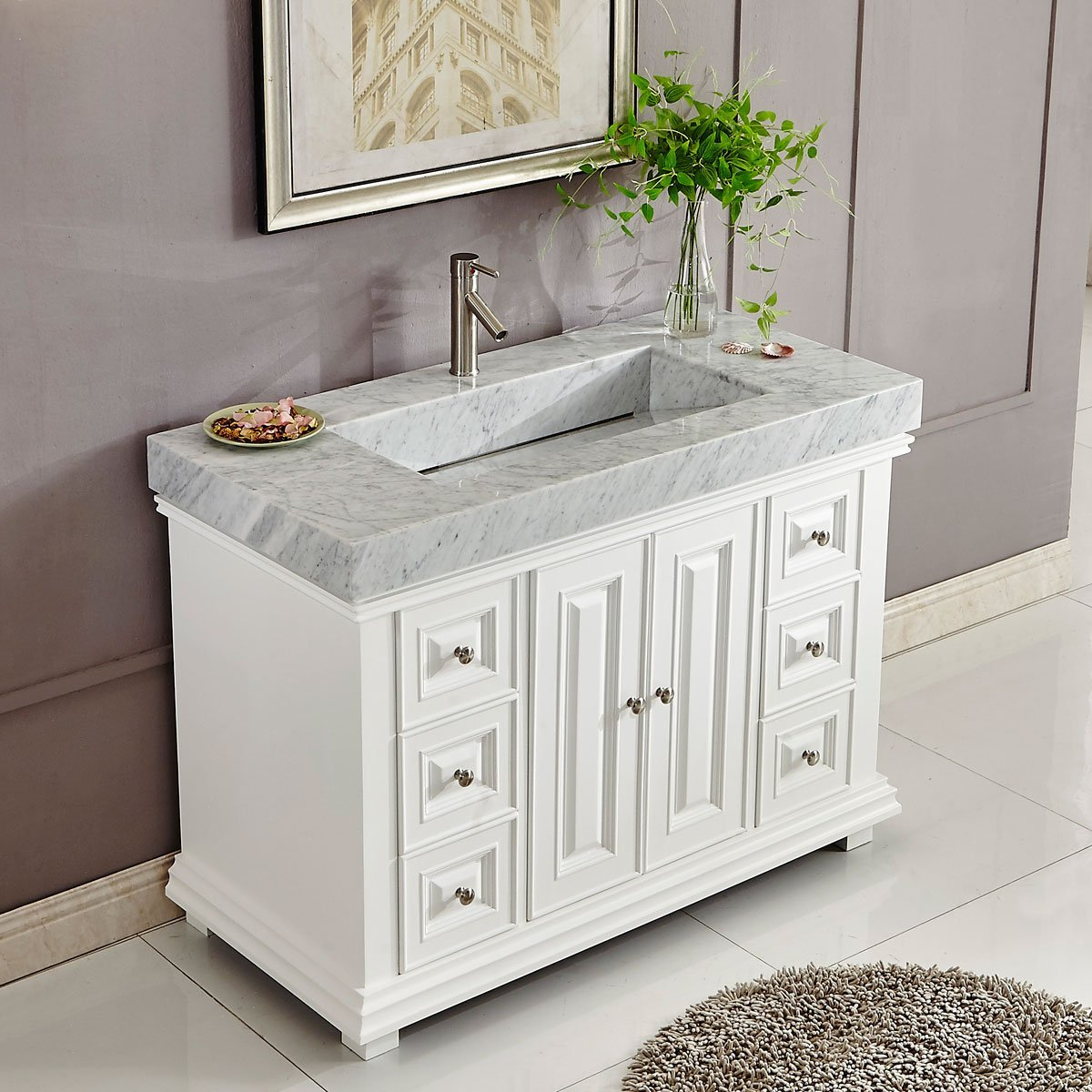 48 inch white finish contemporary