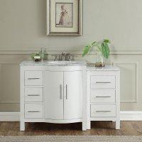 54 inch Single Sink Contemporary Bathroom Vanity White ...