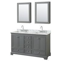 60 inch Double Sink Transitional Grey Finish Bathroom ...