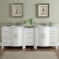 89 inch Double Sink Contemporary Bathroom Vanity White ...