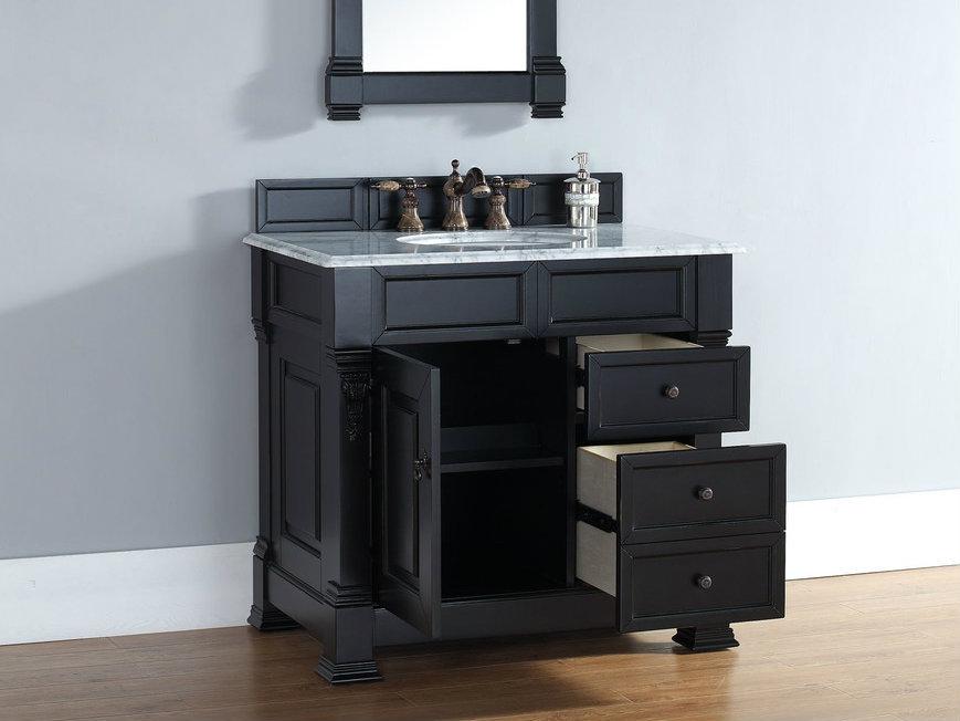 single vanity with drawers anitque black