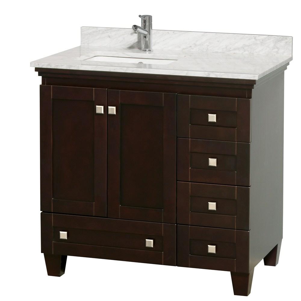 "Acclaim 36"" Espresso Bathroom Vanity Set, White Carrera or"