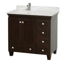 "Acclaim 36"" Espresso Bathroom Vanity Set, White Carrera or ..."