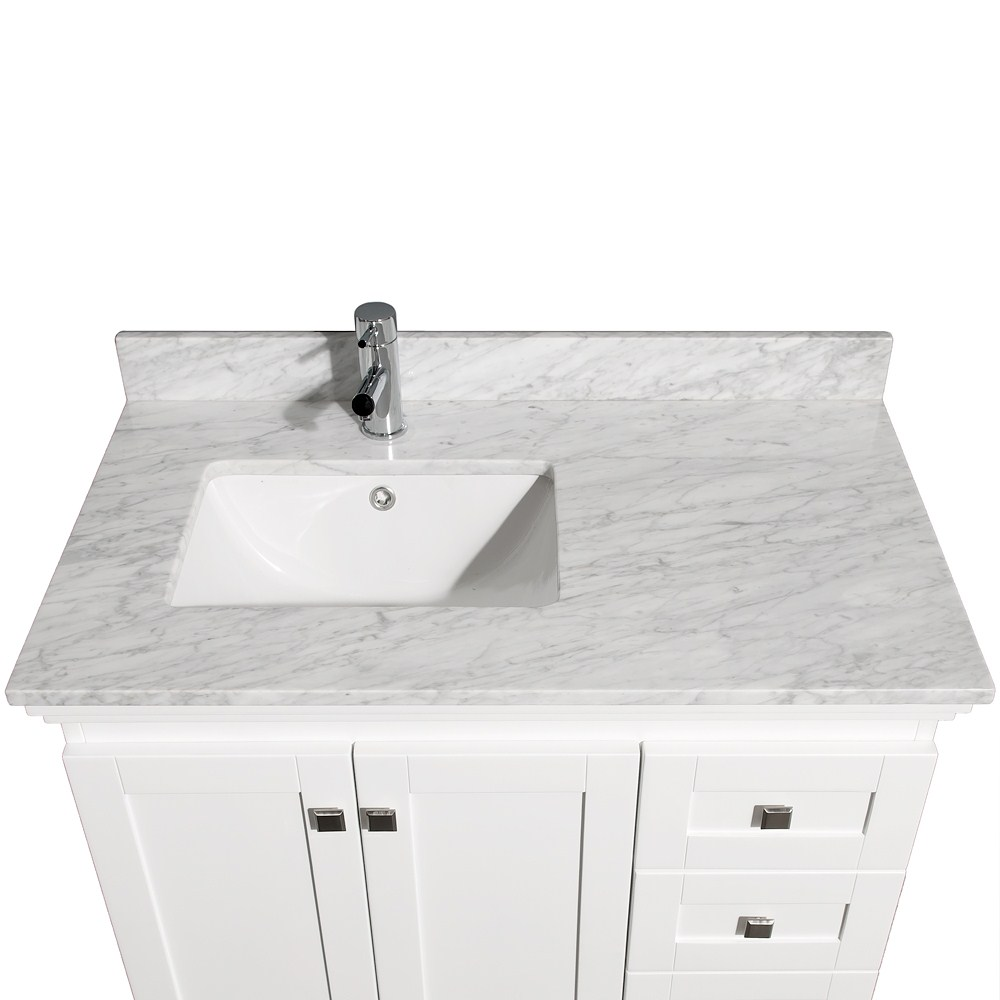 https www listvanities com acclaim 36 single bathroom vanity in white undermount square sink and 24 mirror with countertop options html