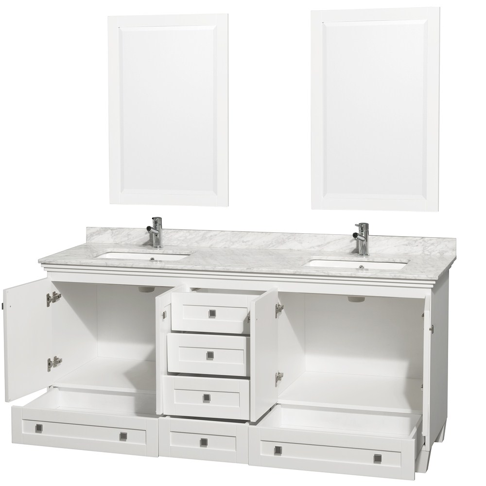Acclaim 72 Double Bathroom Vanity In White Undermount Square Sinks And 24 Mirrors With Countertop Options