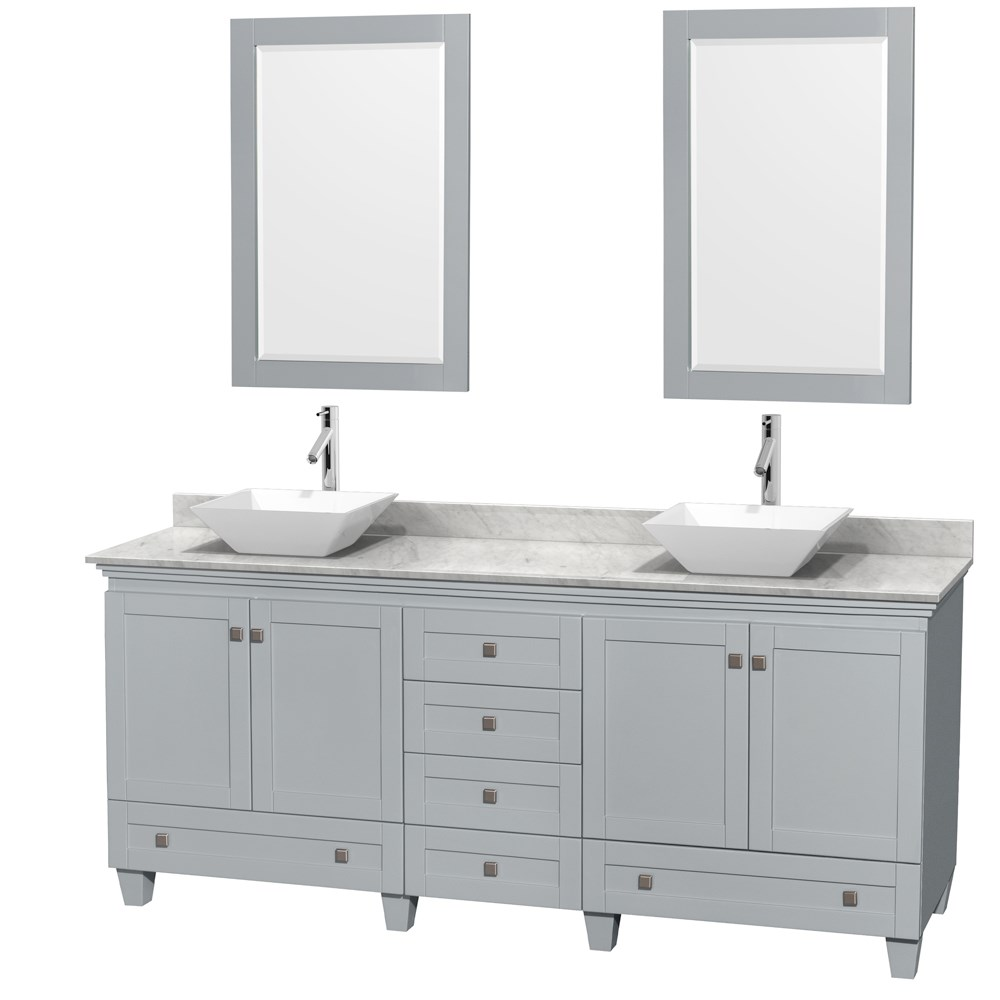 Acclaim 80 Double Bathroom Vanity In Oyster Gray With Countertop Sinks And Mirror Options