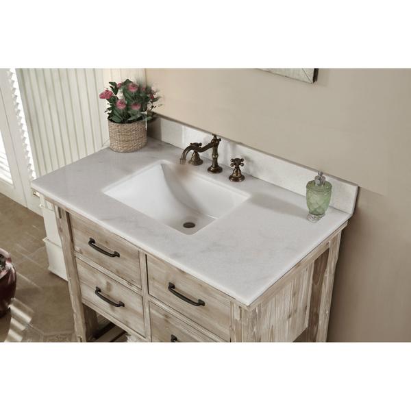 Accos 36 Inch Rustic Bathroom Vanity Quartz White Marble Top