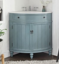 Adelina 24 inch Corner Antique Bathroom Vanity Light Blue ...