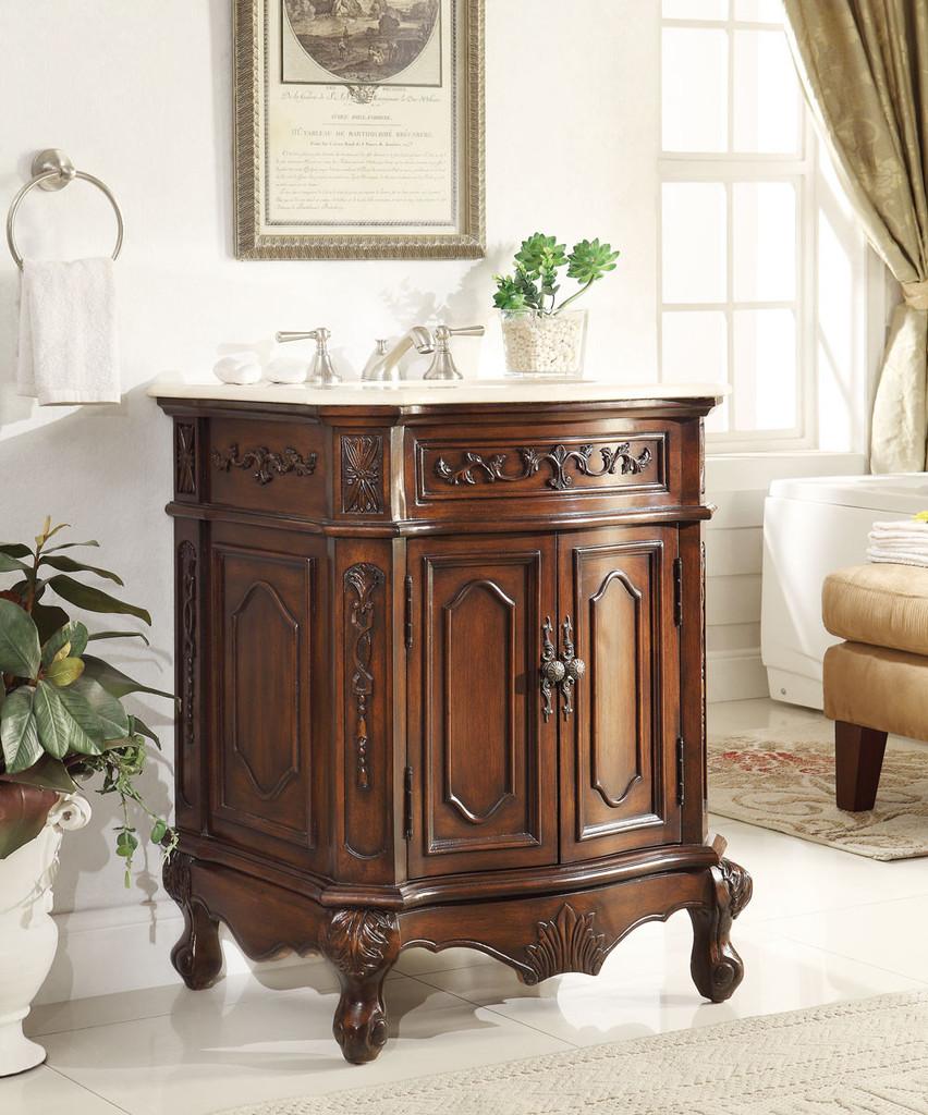 Adelina 27 Inch Antique Bathroom Vanity Lush Wood Finish