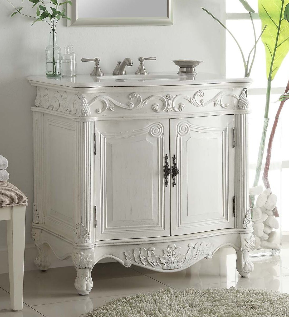 Adelina 32 Inch Antique Bathroom Vanity White Finish