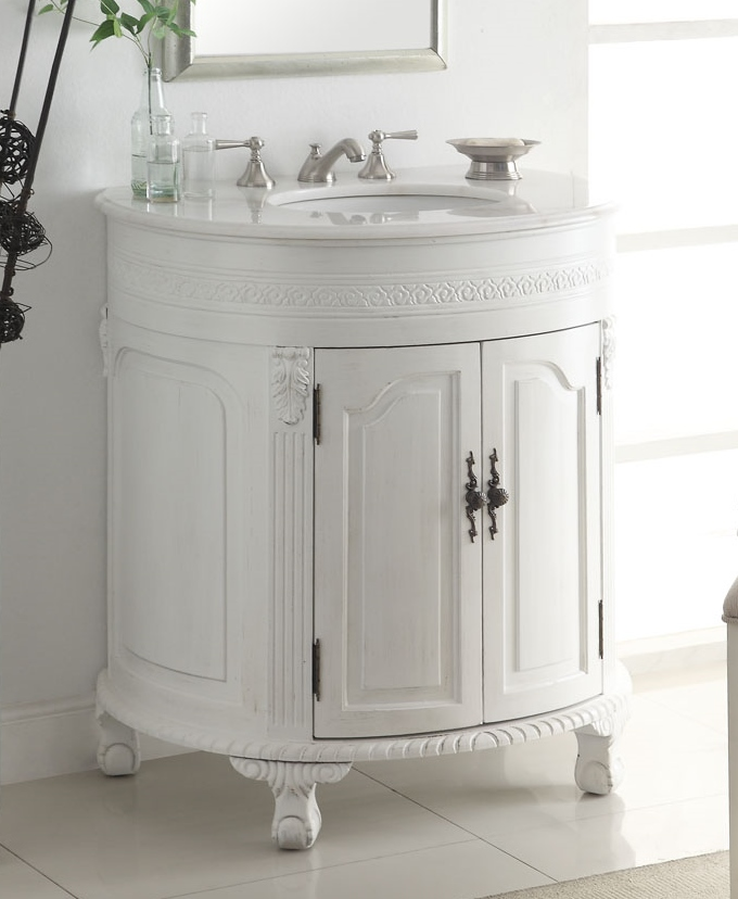Adelina 32 Inch Antique White Single Sink Bathroom Vanity Antique White Finish