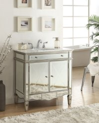 Adelina 32 inch Mirrored Bathroom Vanity, White Carrara