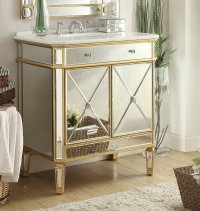 Adelina 32 inch Mirrored Gold Bathroom Vanity White Marble Top