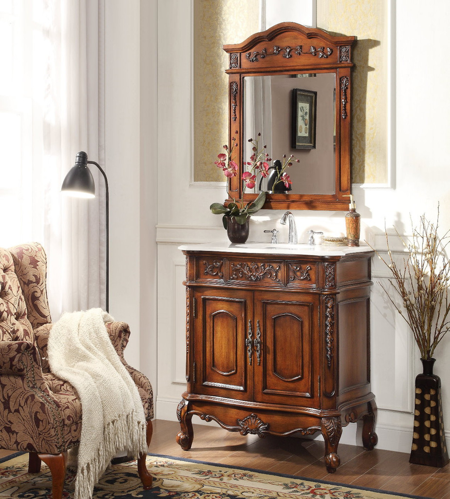 Adelina 33 Inch Antique Classic Bathroom Vanity Fully Assembled Cherry Wood Finish