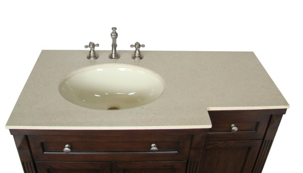 adelina 42 inch traditional bathroom vanity, fully assembled, cream
