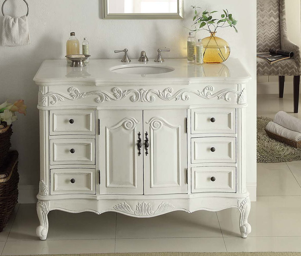 Adelina 42 Inch Traditional Style Antique White White Bathroom Vanity
