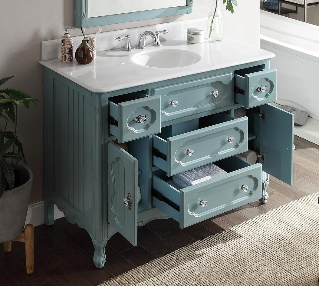 Adelina 48 Inch Antique Cottage Bathroom Vanity Antique Blue Finish White Marble Top