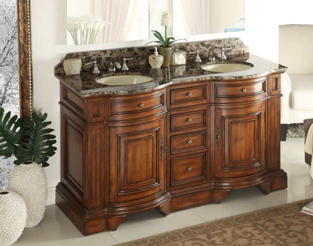 adelina 60 inch double sink bathroom vanity chestnut finish