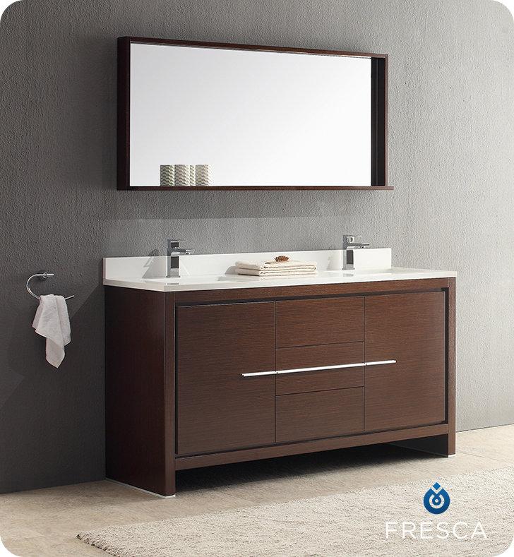 60 Modern Double Sink Bathroom Vanity Wenge Dark Brown Finish