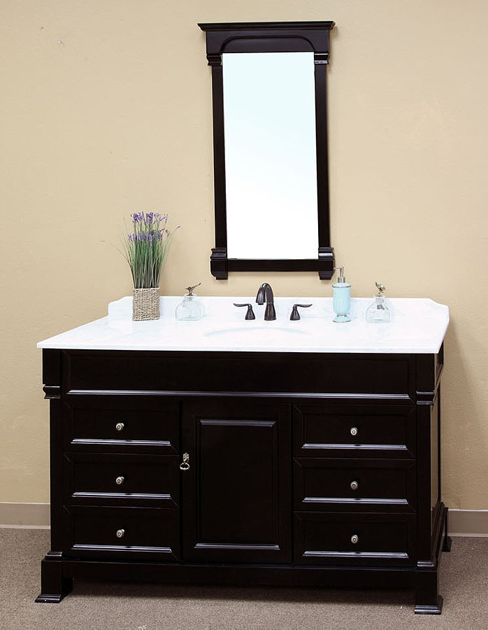 The Bella Collection 60 Inch Bathroom Vanity Espresso Finish Marble Top