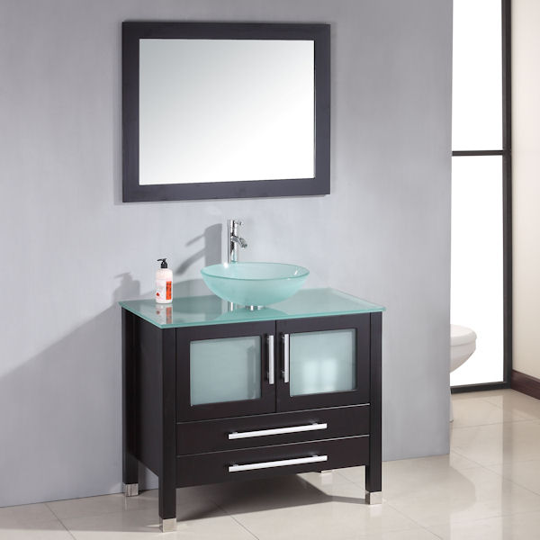 36 solid wood glass vessel sink set