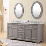 72 Inch Traditional Double Sink Bathroom Vanity Gray Finish