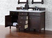 Contemporary 60 inch Double Sink Bathroom Vanity Mahogany ...