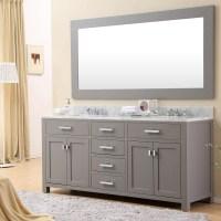 Daston 72 inch Gray Double Sink Bathroom Vanity, Carrara ...