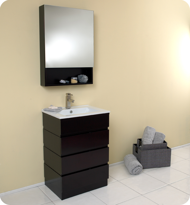 24 Espresso Modern Bathroom Vanity With Medicine Cabinet