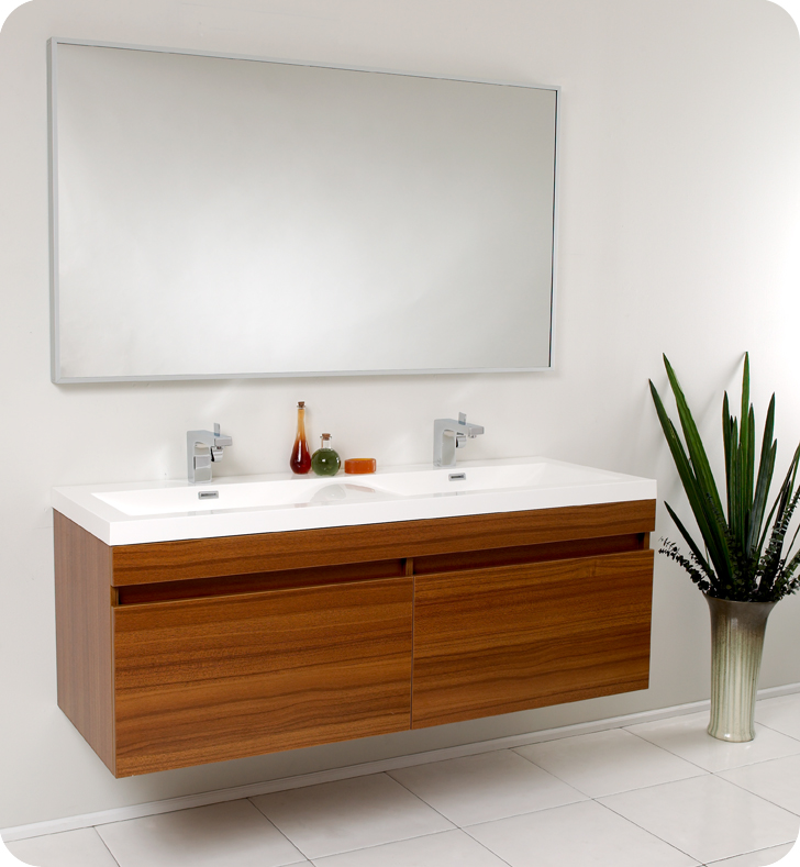 "57"" Teak Modern Double Bathroom Vanity with Faucet ..."