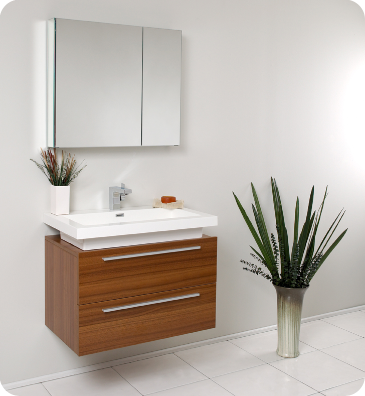 32 Teak Modern Bathroom Vanity With Faucet Medicine Cabinet And Linen Side Cabinet Option