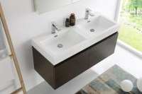 "Fresca Mezzo 48"" Gray Oak Wall Hung Double Sink Modern"