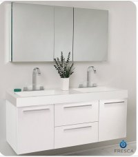 "Fresca Opulento 54"" White Modern Double Sink Bathroom"