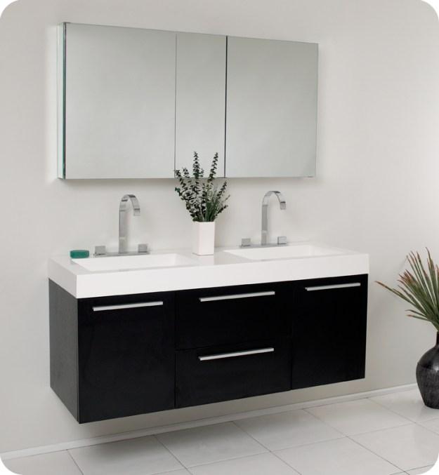 "fresca opulento 54"" black modern double sink bathroom vanity with"