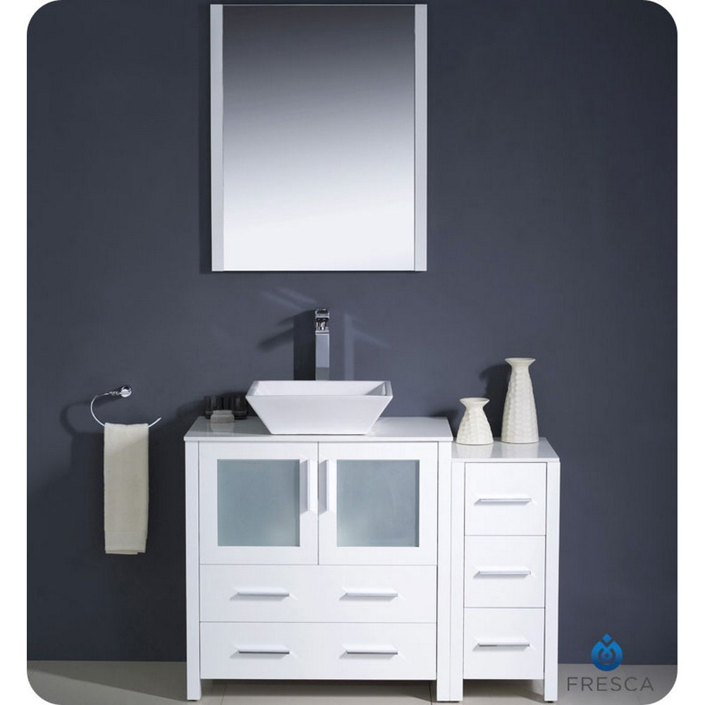 42 White Modern Bathroom Vanity Vessel Sink With Faucet And Linen Side Cabinet Option