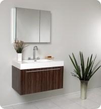 "Fresca Vista 36"" Walnut Modern Bathroom Vanity with Faucet ..."
