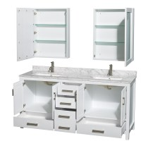 Sheffield 72 inch Double Sink Bathroom Vanity White Finish ...