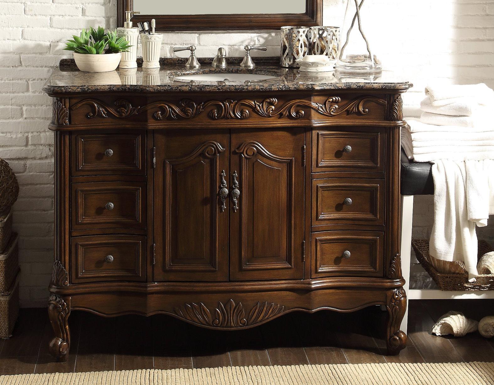 Adelina 48 Inch Classic Old Look Bathroom Vanity Sierra Brown Granite Top