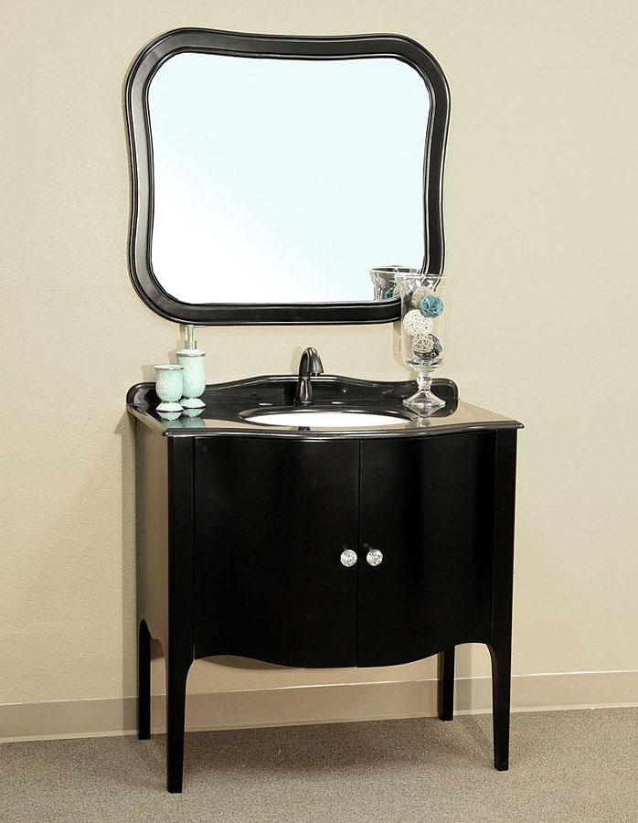 bellaterra home 203037 black bathroom vanity, black granite countertop