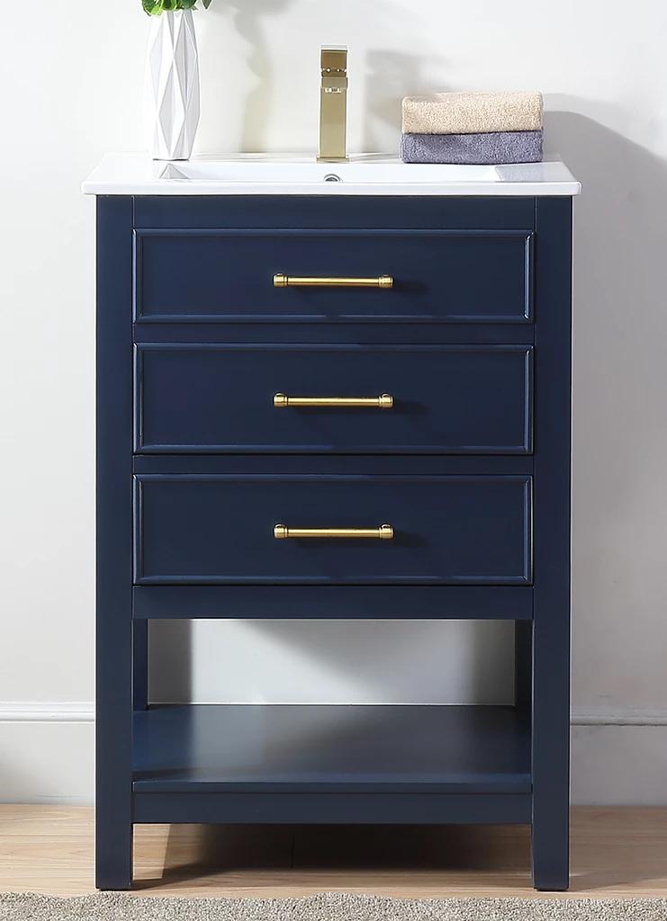 24 Adelina Contemporary Small Slim Narrow Navy Blue Bathroom Vanity
